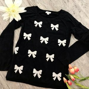LOFT sweater - black with white bow pattern